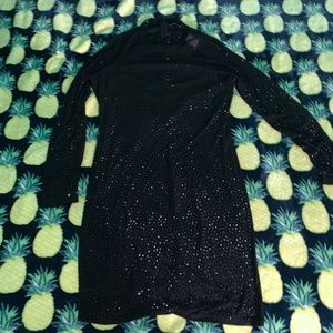 Fashion Nova Black Long Sleeve Mesh Sequin Dress
